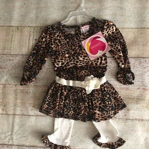 Leopard gold and cream pant set NWT 2t